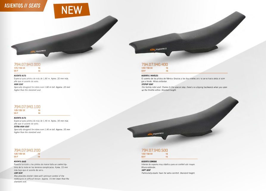 KTM EXC250 Seats come in lots of options