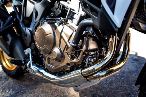 The CRF's 1000cc engine feels like a V twin