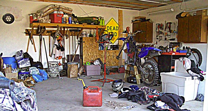Messy, cluttered garage