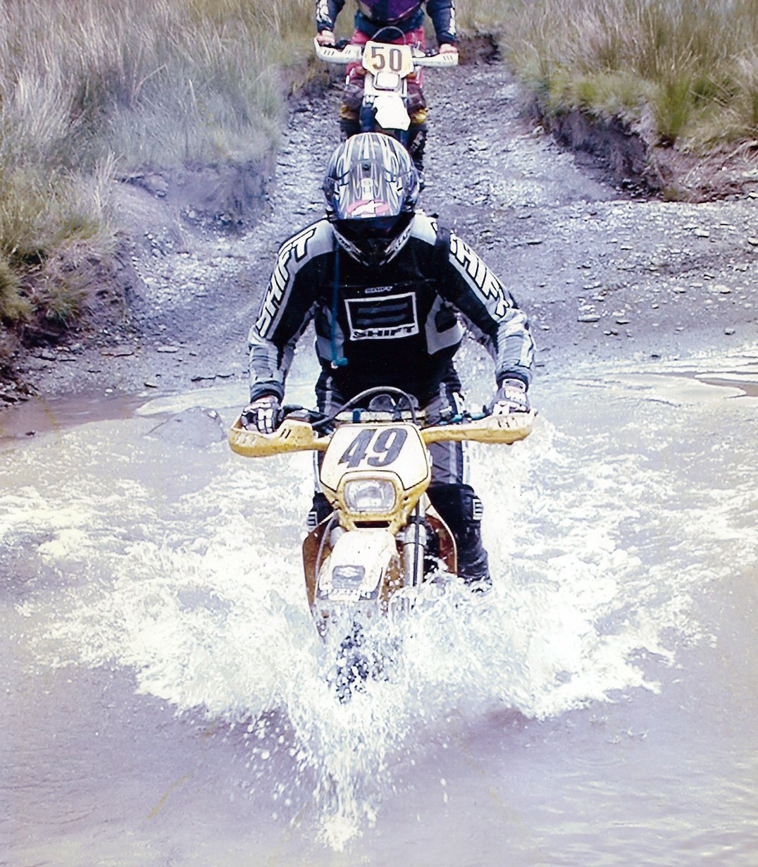 River crossing on a Suzuki