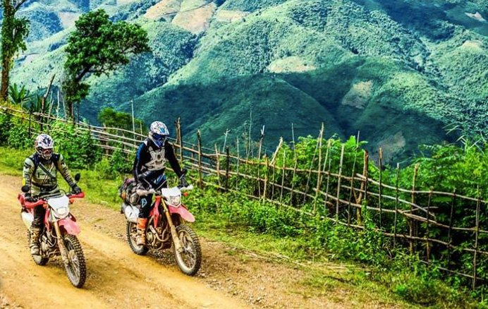 Riding in Laos